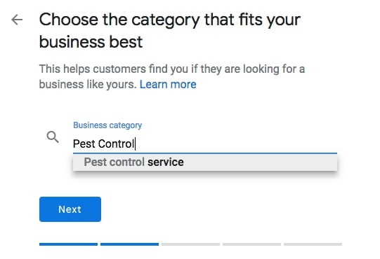 Choose your Category fro Google My Business