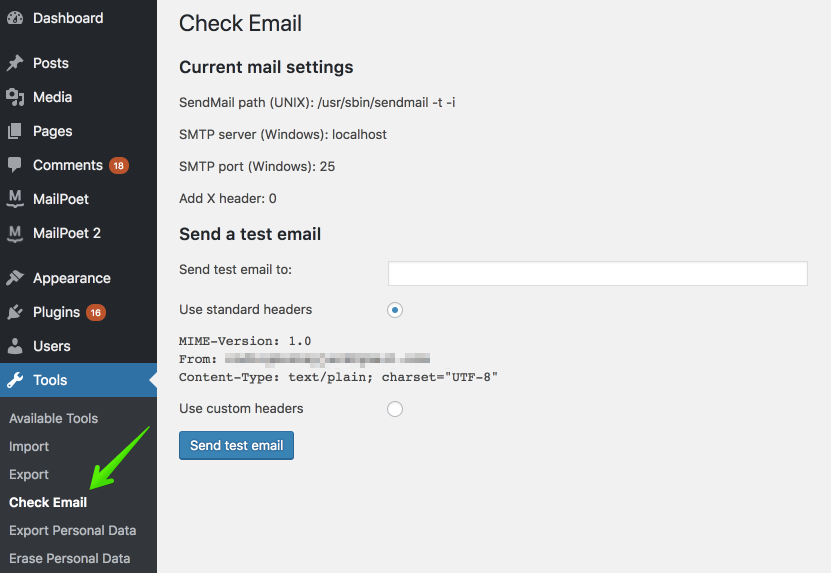 Check email plugin to help diagnose wordpress email not sending