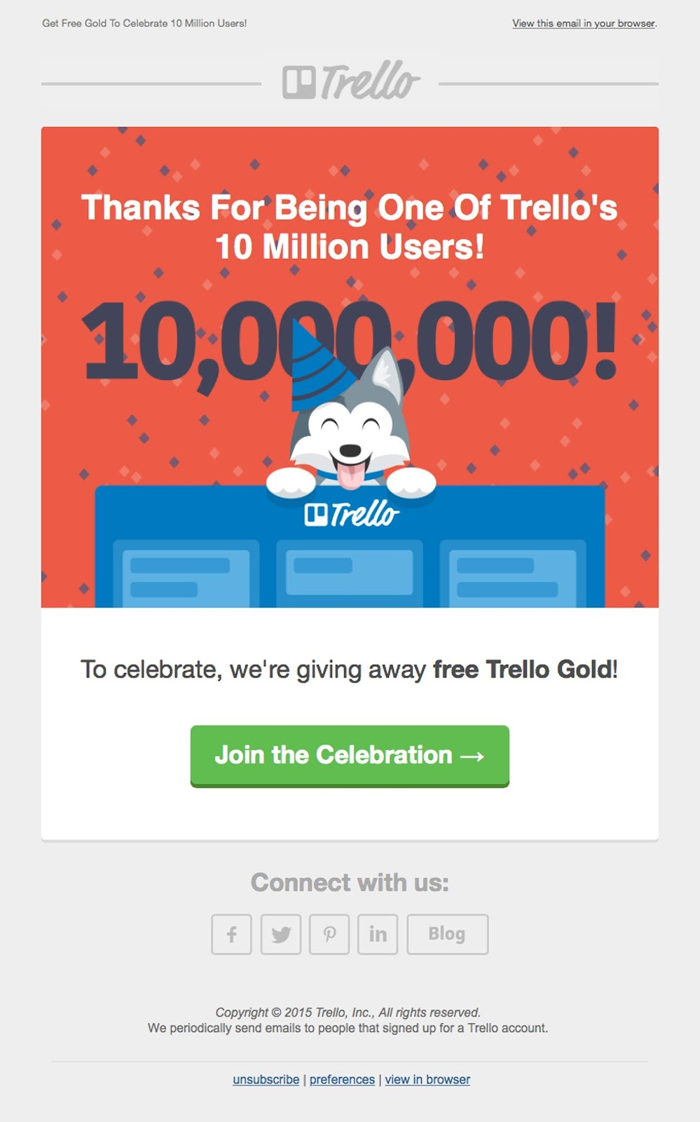 Trello welcome email example