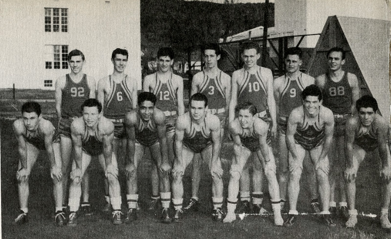 Five veterans side by side (front row from left:) Lloyd Null, Pat Peters, Joe Huante, Punny Dambacher, Dick Baker