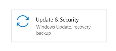 The Update & Security tile in Windows Settings
