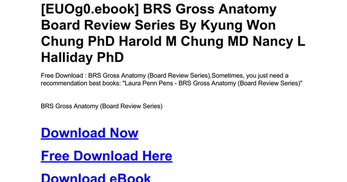 Brs Gross Anatomy Board Review Series Doc Google Drive