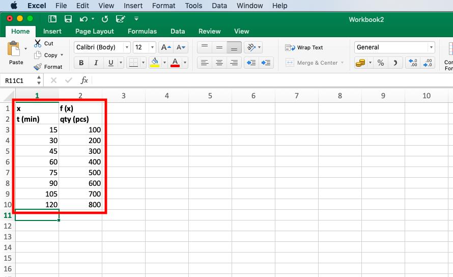 Tabular Data Extrapolation in Excel