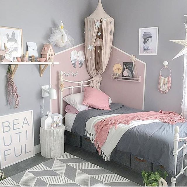 Grey and Pink Little Girl Bedroom Ideas