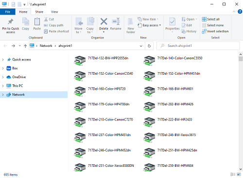 """File explorer window titled """"\\ahcprint1"""", containing icons with names of printers."""
