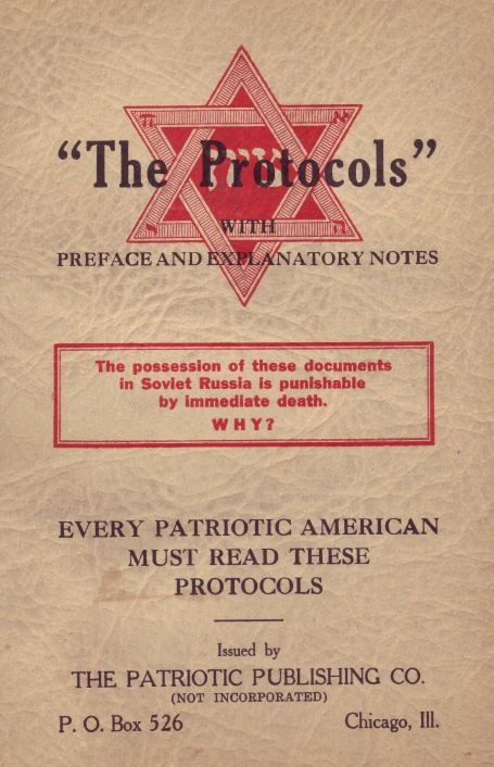 Cover of an American copy of the Protocols of the Elders of Zion claiming that every American should read them.