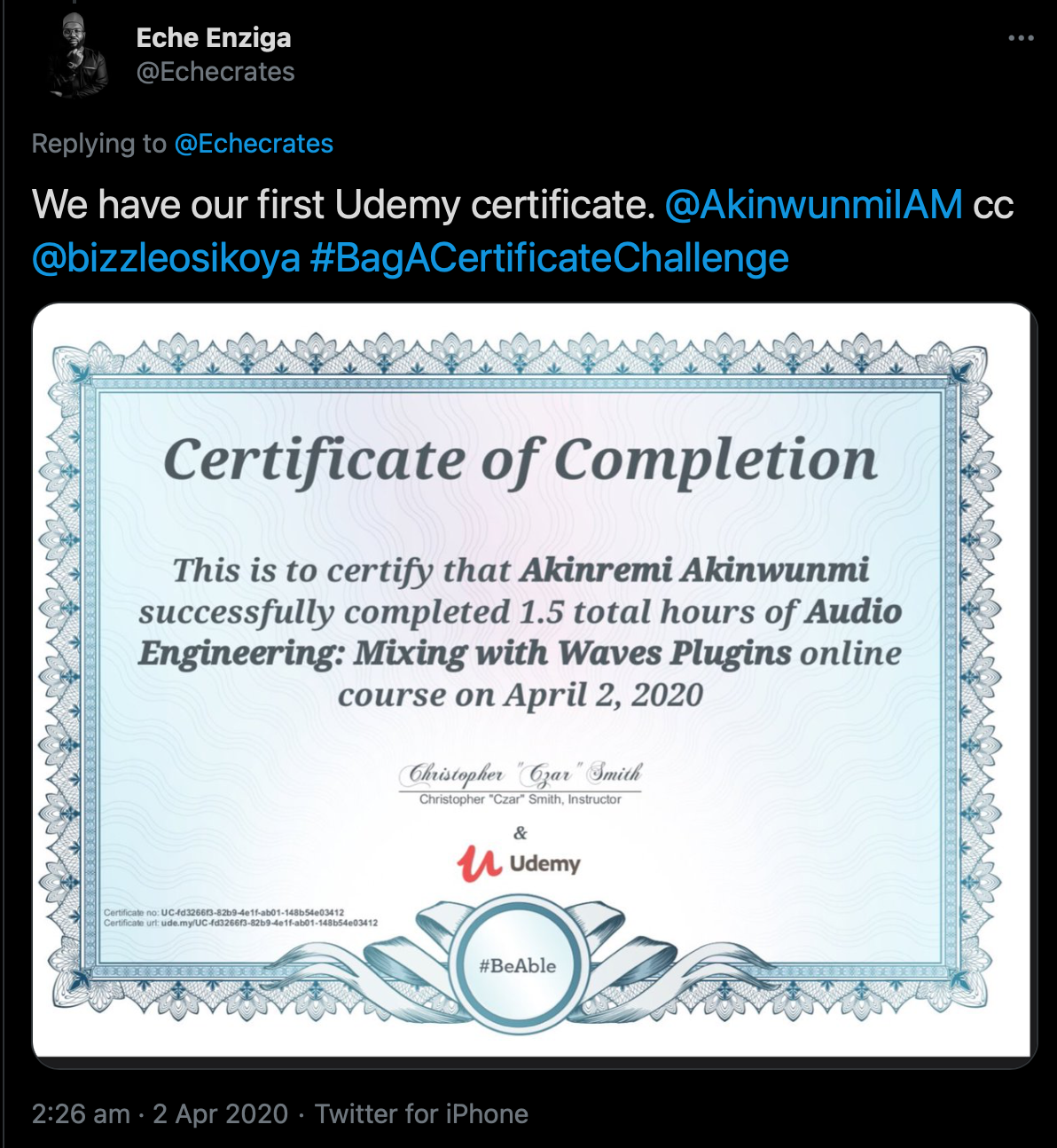 Certified issued by Udemy