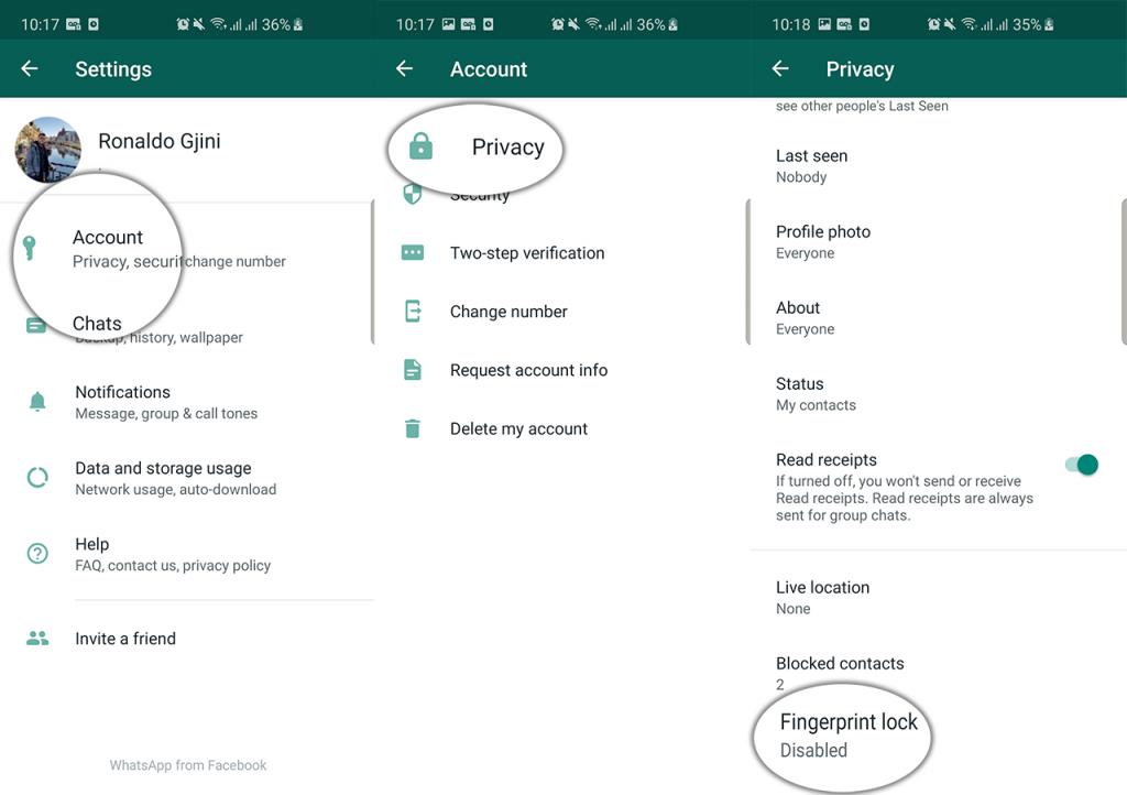enable whatsapp fingerprint lock