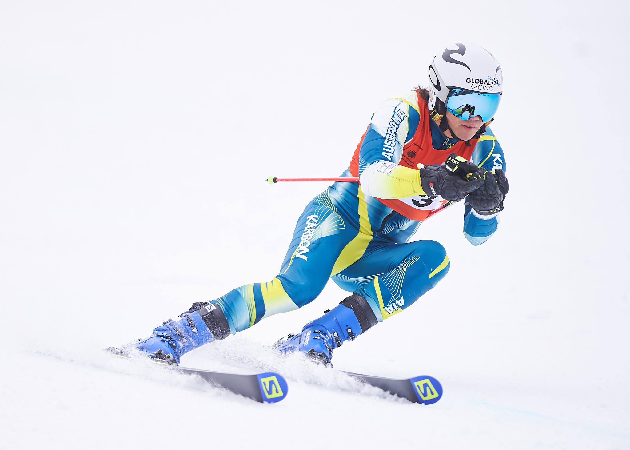VU Student, Harry Laidlaw representing Victoria University in Giant Slalom at 2018 Nationals Snow, Mt Buller.