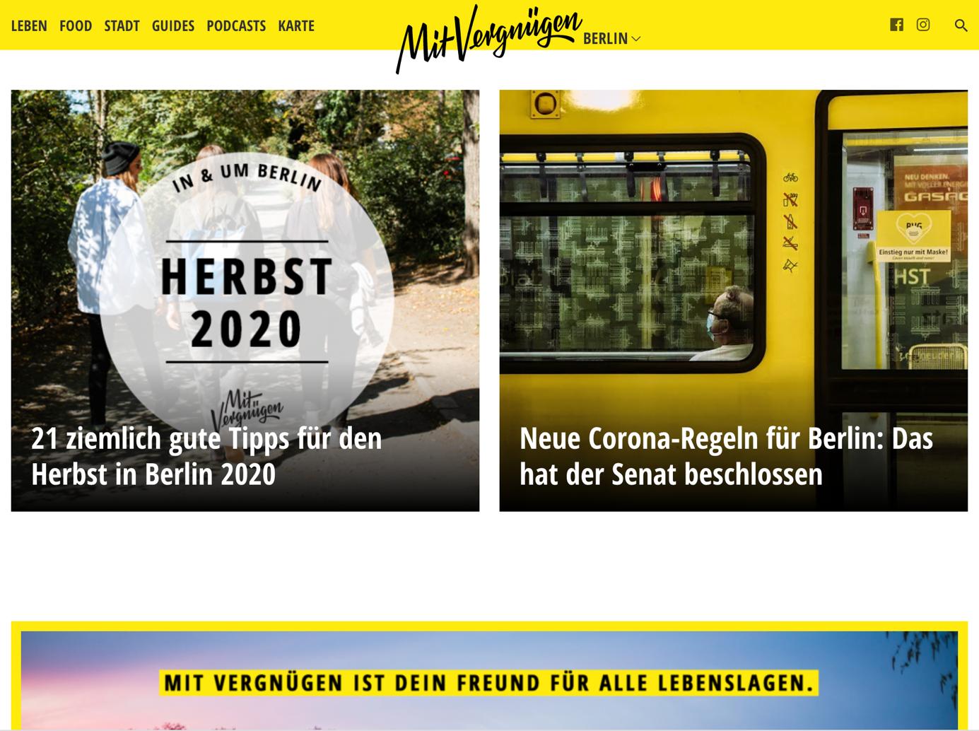 klares Homepage design bei mitvergnügen