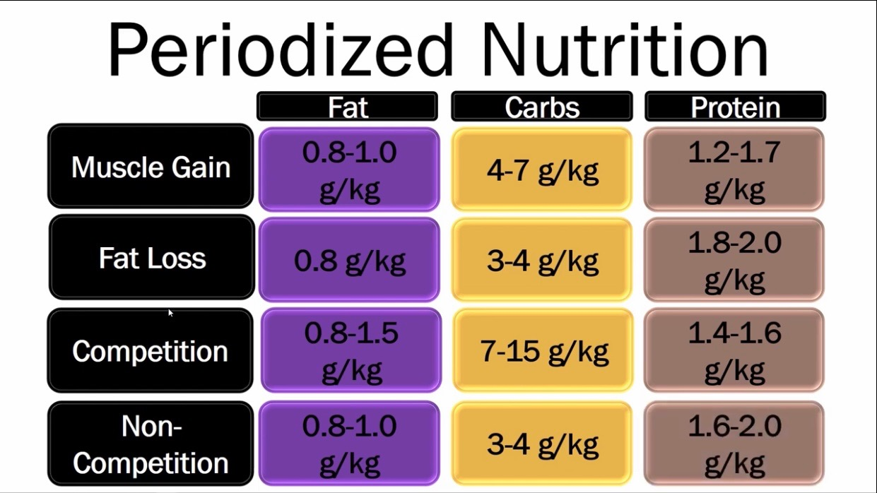 Recommended protein, fat, and carbohydrate intakes