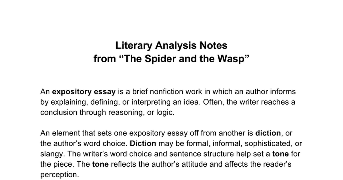 literary analysis notes the spider and the wasp google docs
