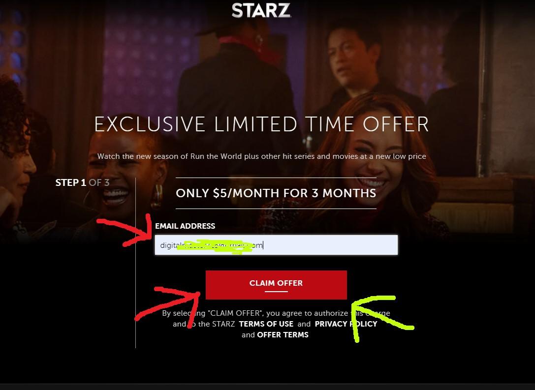 Starz signup process
