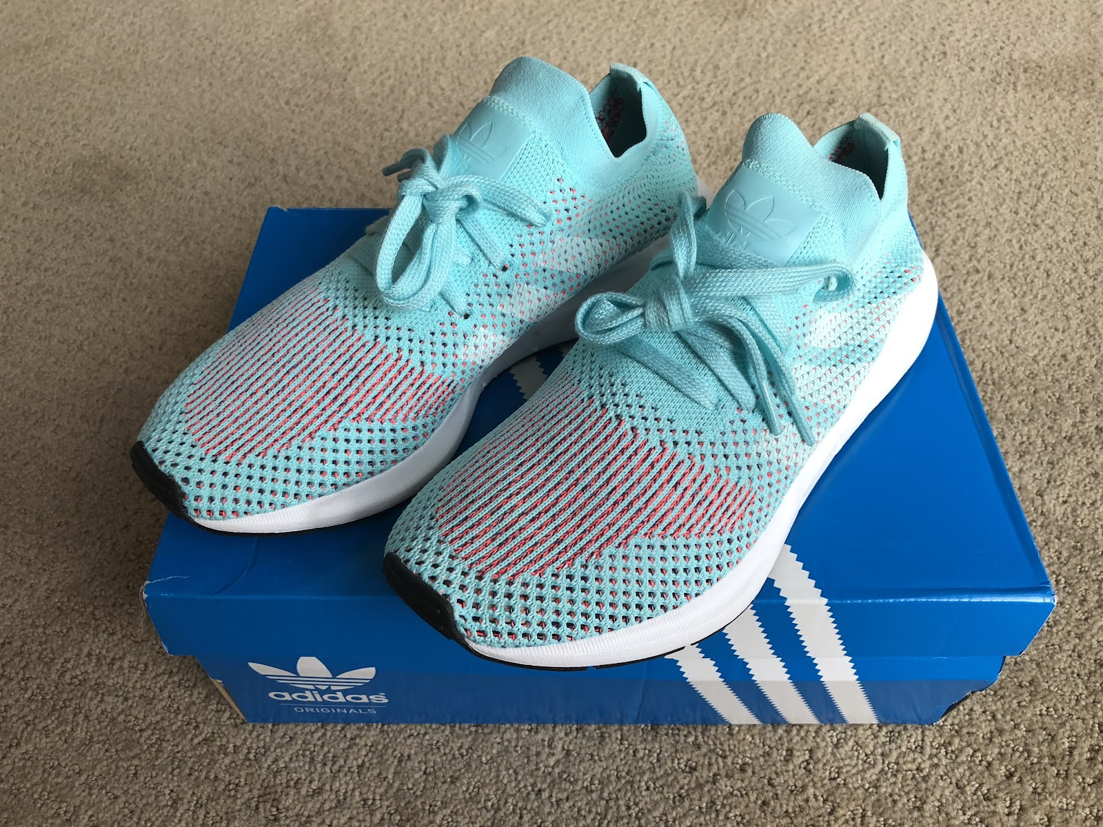 697669ca0a0 Details about CQ2034 Adidas Originals Swift Run Pk Primeknit W Women Aqua  White Running Shoes