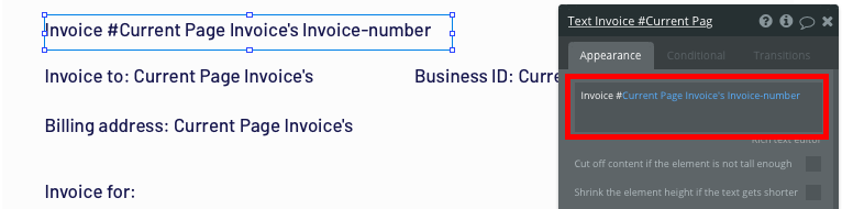 Displaying the dynamic content of a Quickbooks clone invoice