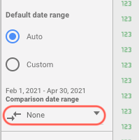 Comparision range on Google Data Studio