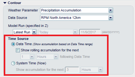 The time source will change when a Precipitation Accumulation product is selected