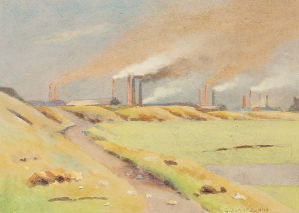 Image of The Chimneys, watercolour on paper, Bayliss, Edwin Butler (1874-1950) / British, Wolverhampton Art Gallery, West Midlands, UK, © Wolverhampton Art Gallery / Bridgeman Images