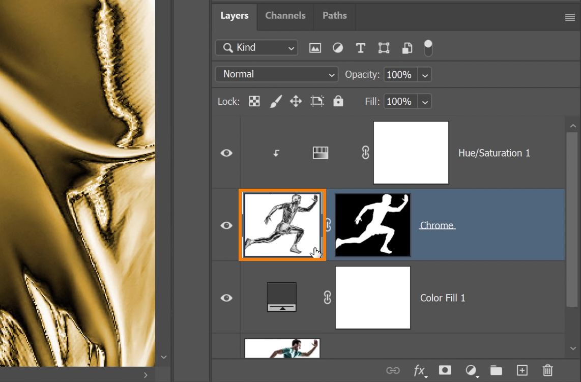 To further smoothen the image, select the Chrome layer, and choose Filter > Camera Raw Filter