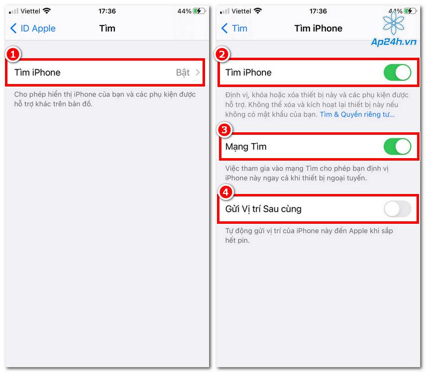 Hãy kích hoạt toàn bộ các tùy chọn của Tìm iPhone