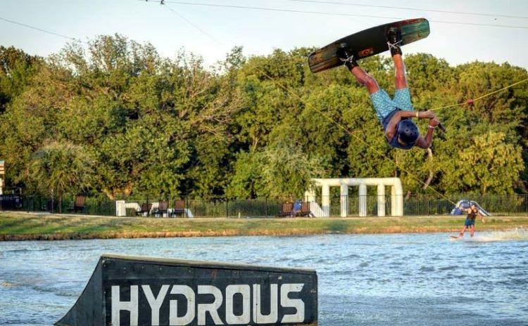Wakeboarder at Hydrous Wake Park in Allen Texas