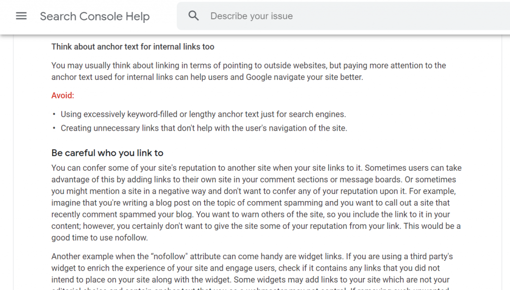 consider anchor text for internal linking with keywords