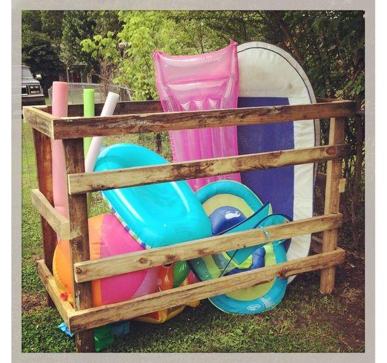 Rustic and Country Style Pool Float Storage