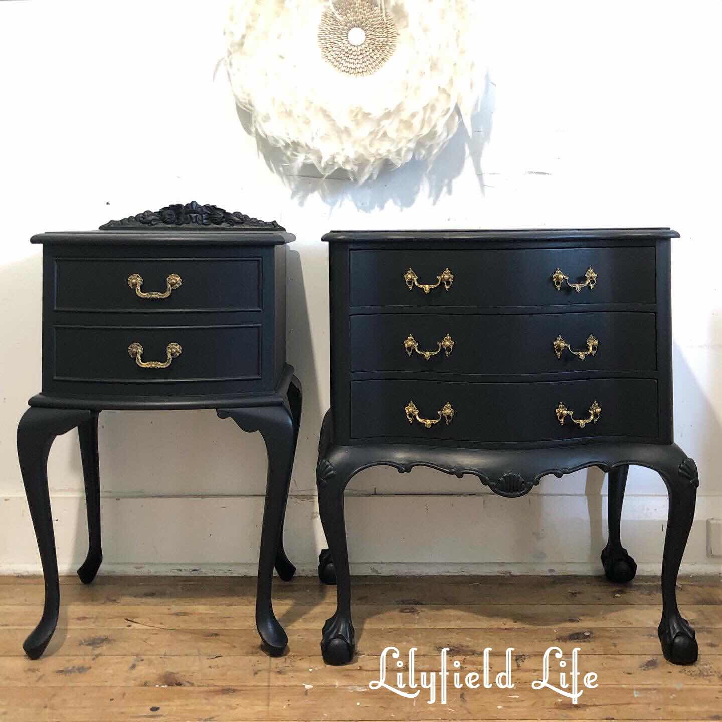 lilyfield life black American bow bedside tables drawers chalk paint