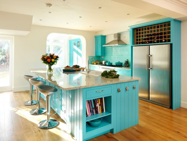 kitchen with turquoise tiles