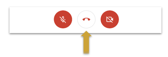 A yellow arrow points to the phone icon that is used to leave the meeting.