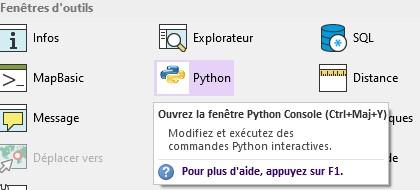 MapInfo 19 3 Python console MapBasic