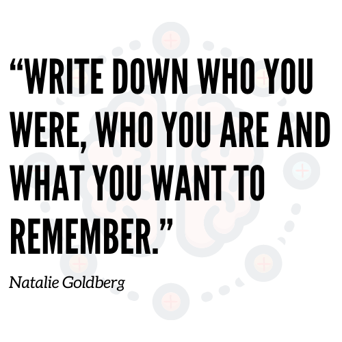 Write down who you were, who you are and what you want to remember.