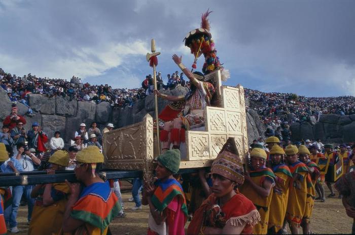 Celebración de Inti Raymi en el centro de Cusco Perú