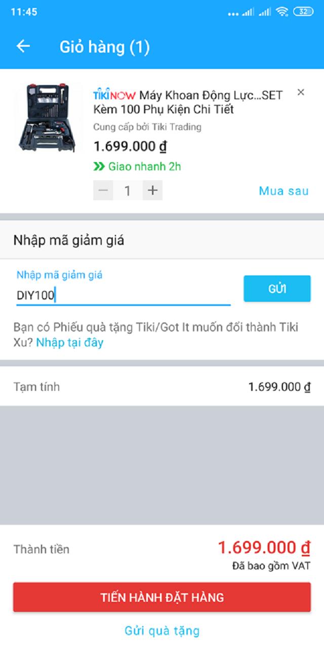 Cách nhập mã giảm giá Tiki trên điện thoại bạn nên biết