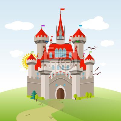 https://img.myloview.pl/fototapety/bajkowy-zamek-wyobraznia-dzieci-ilustracja-wektora-plaski-krajobraz-z-zielonych-drzew-trawa-sciezki-kamienie-i-chmur-400-51706442.jpg