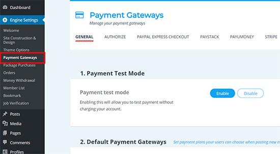 Thiết lập metod thanh toán