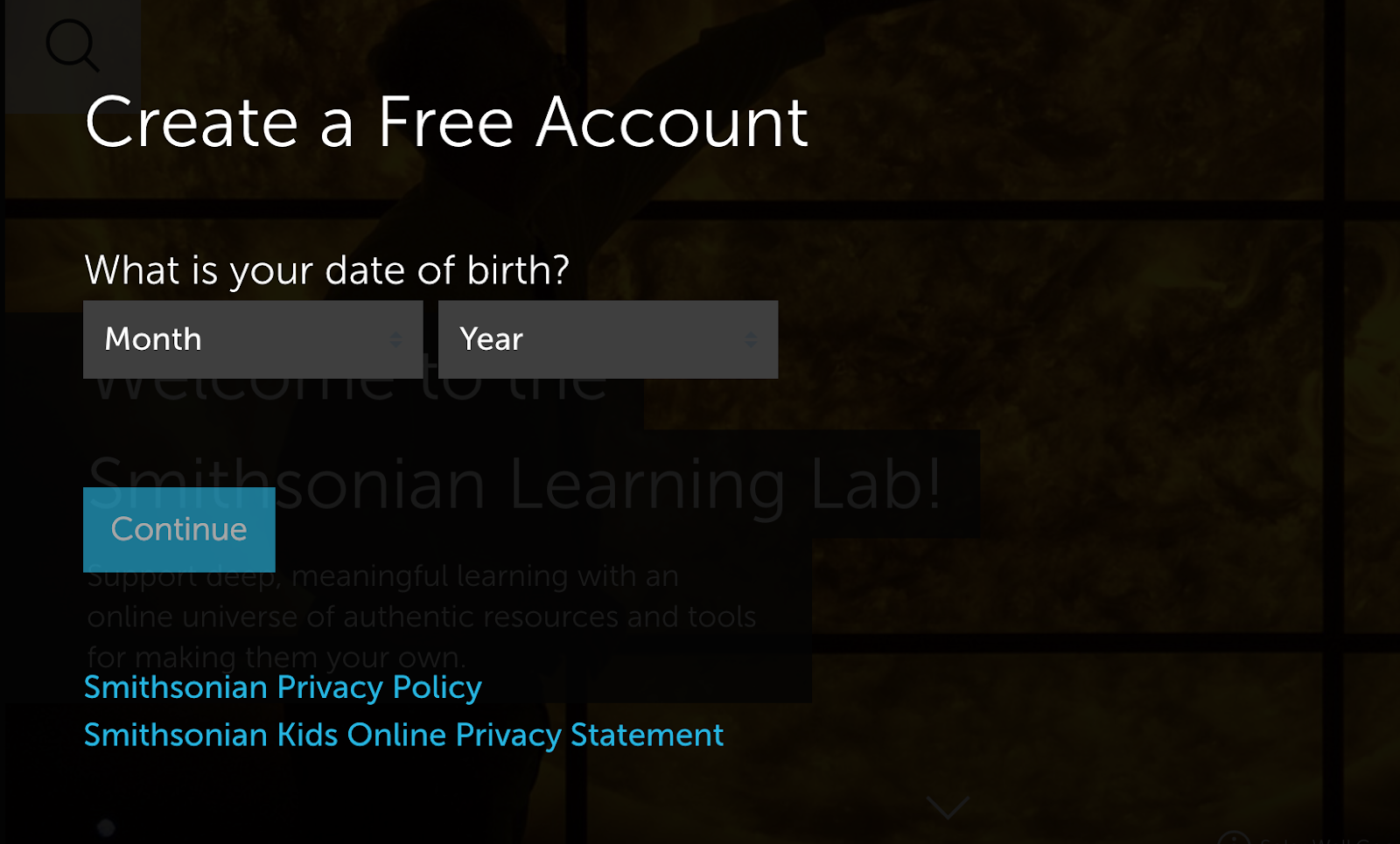 Image of the Create Free Account Screen asking the user to enter their birth date.