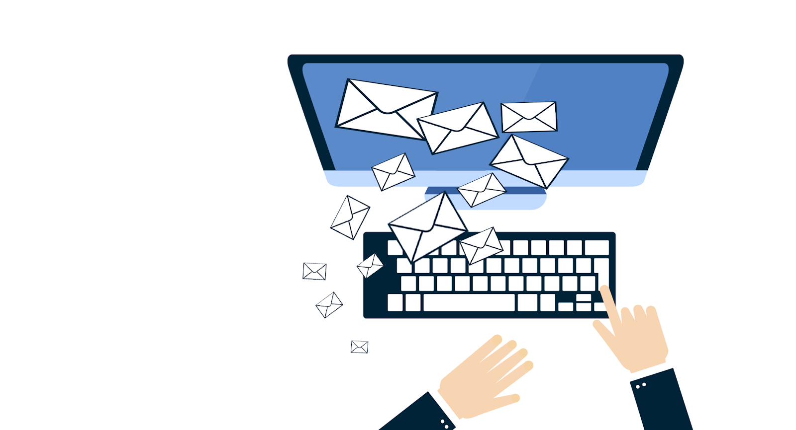 illustration of a person sending many emails