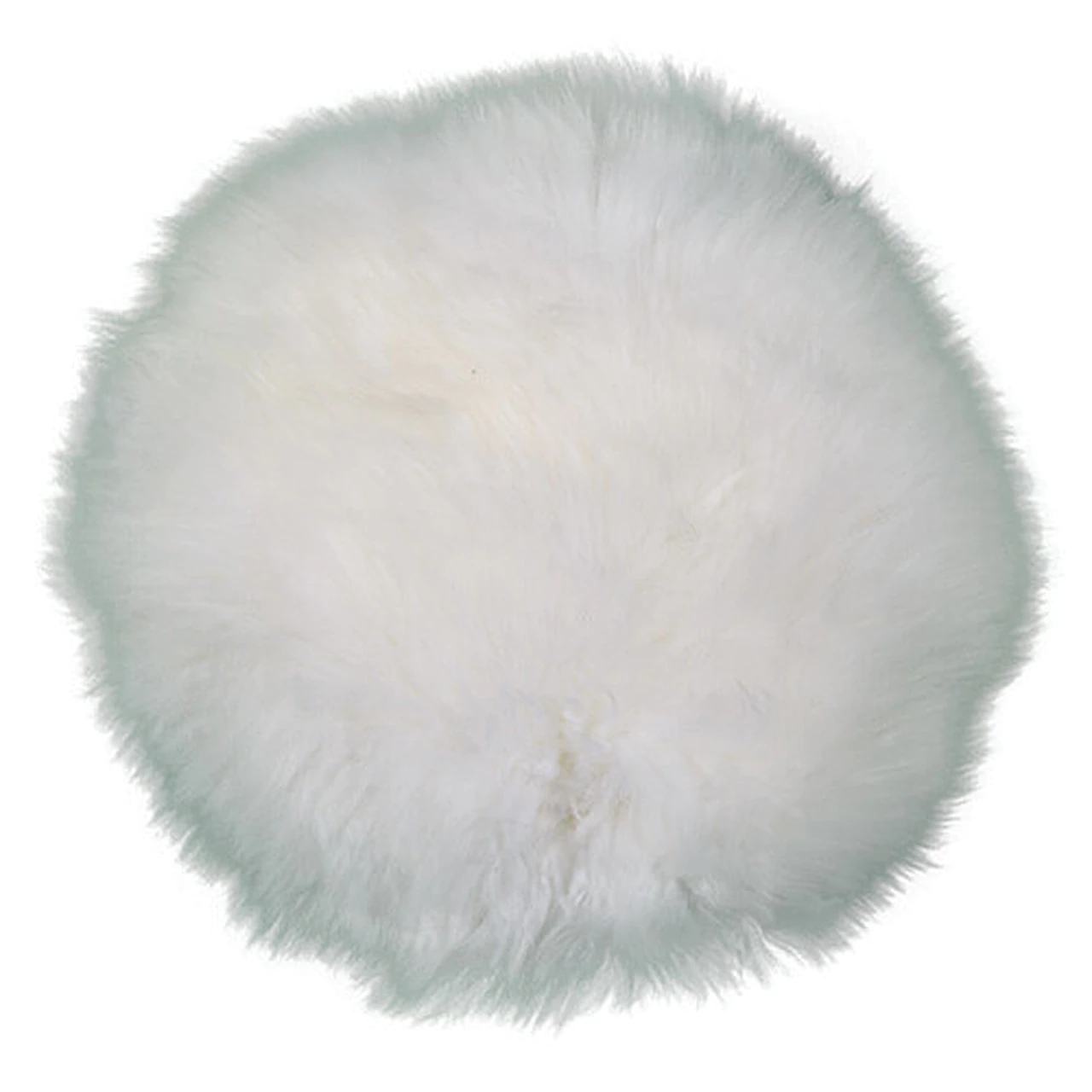 Round White Shearling Pillow