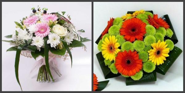 Свадебные букеты с хризантемами и зеленью