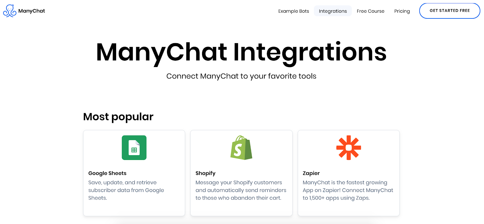 ManyChat integrations page