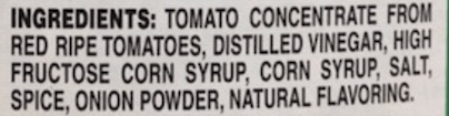 The ingredient label of Tomato Ketchup, consisting of mainly sugar.