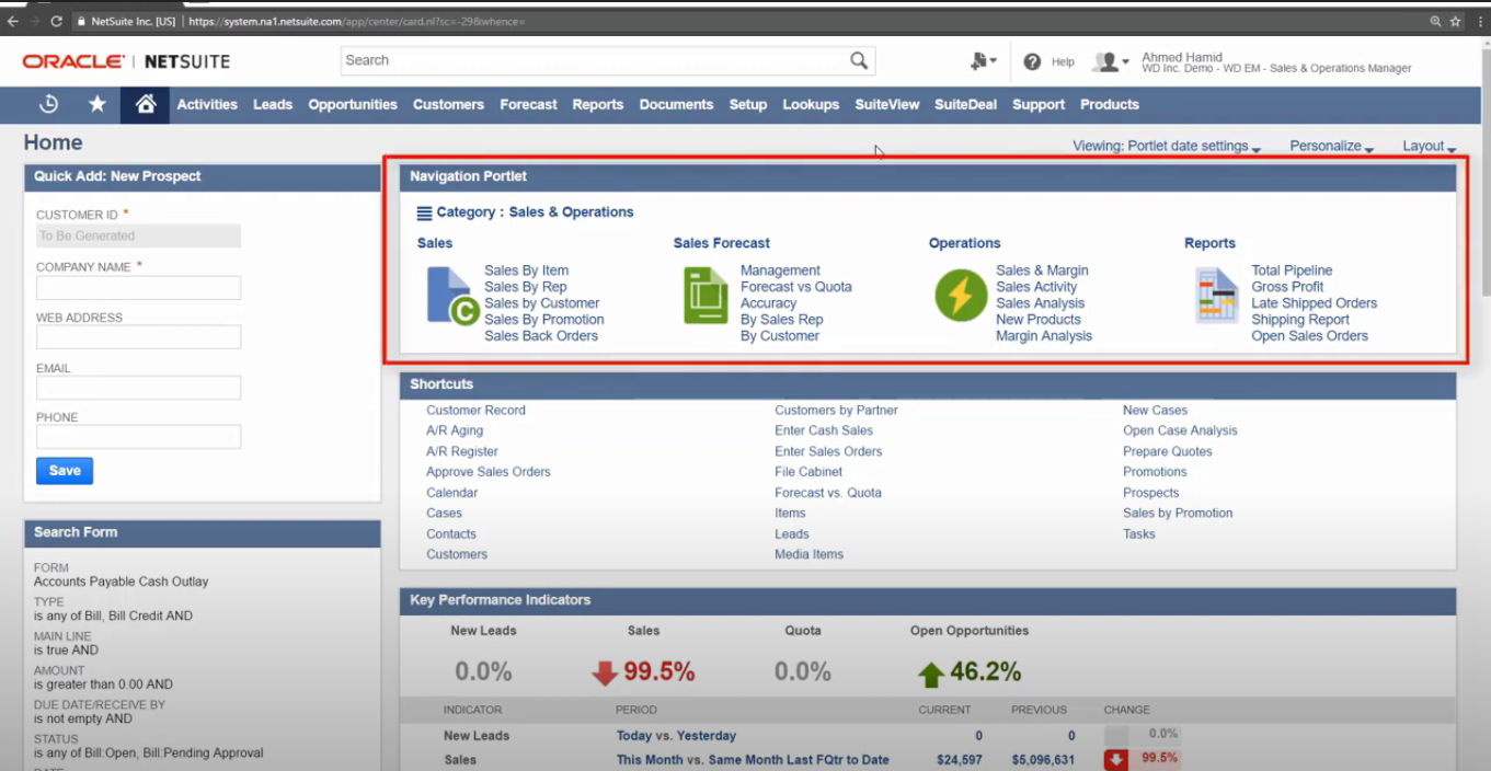 NetSuite's navigation portlet, shown at the top of the home dashboard.