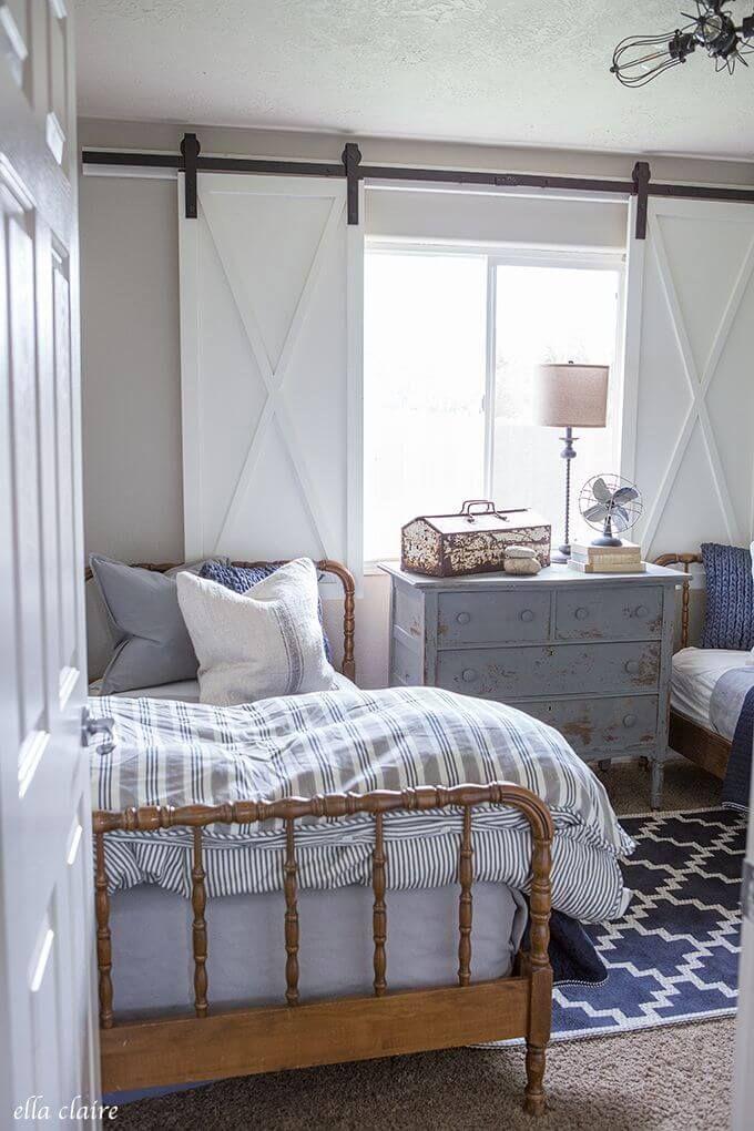 Rustic Cottage Sliding Window Shutters