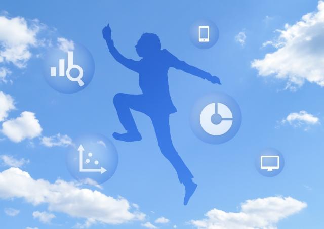 ビジネススーツの男性空ジャンプ