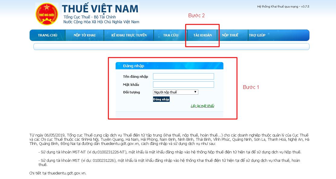 Đăng nhập vào tài khoản trên trang web của cơ quan thuế
