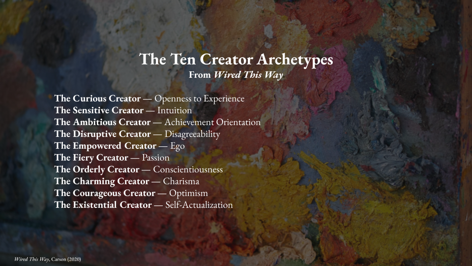 Image shows the Ten Creator Archetypes from the book Wired This Way by Jessica Carson:   The Curious Creator - Openness to Experience The Sensitive Creator - Intuition The Ambitious Creator - Achievement Orientation  The Disruptive Creator - Disagreeability  The Empowered Creator - Ego  The Fiery Creator - Passion  The Orderly Creator - Conscientiousness  The Charming Creator - Charisma The Courageous Creator - Optimism The Existential Creator - self-actualization