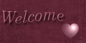 Welcome banner in burgandy by