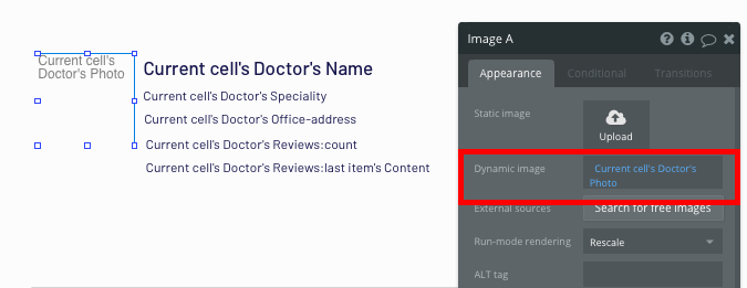 Displaying dynamic doctor profiles in Bubble's no-code Zcodoc clone