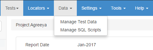 Manage test data